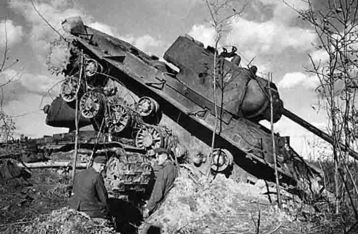 Two destroyed Soviet KV-1 heavy tanks