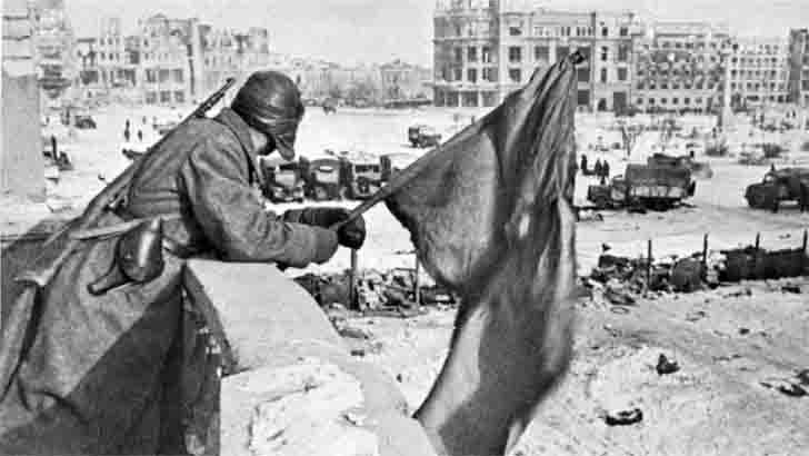 The red flag over the Square of Fallen Fighters