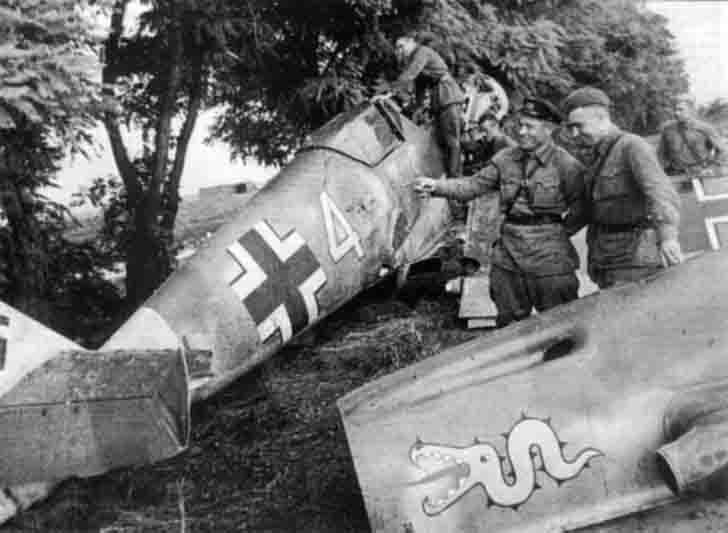 Downed Messerschmitt fighter BF.109