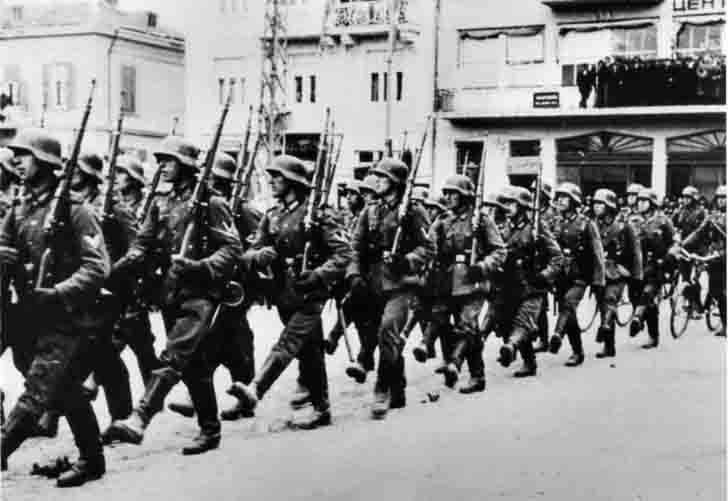 German military parade in the streets of the French city
