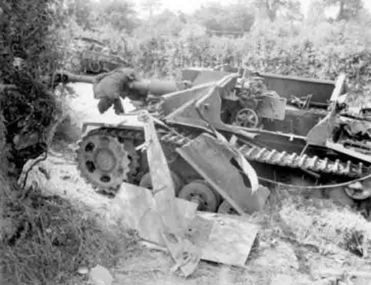 Destroyed by the explosion German StuG III assault gun