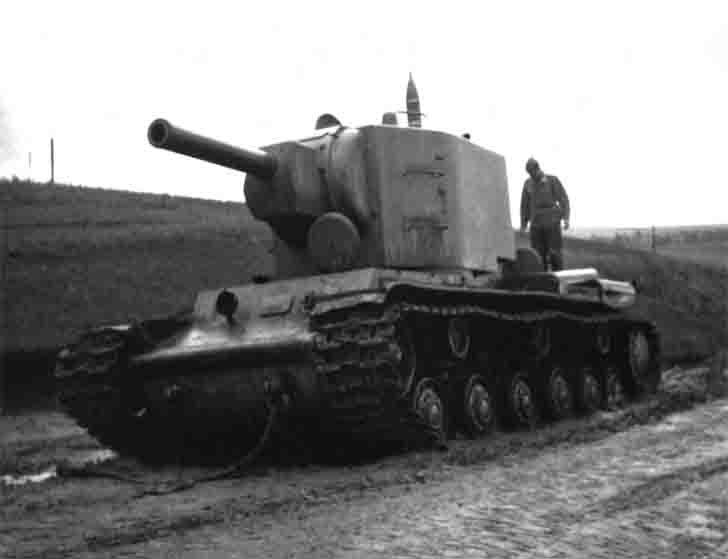 Abandoned KV-2 heavy tank with a tow rope