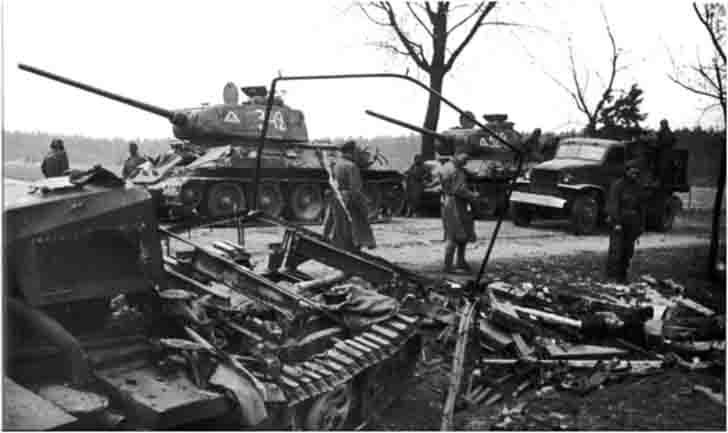 Two T-34-85 medium tanks of the 9th Tank Corps in Berlin