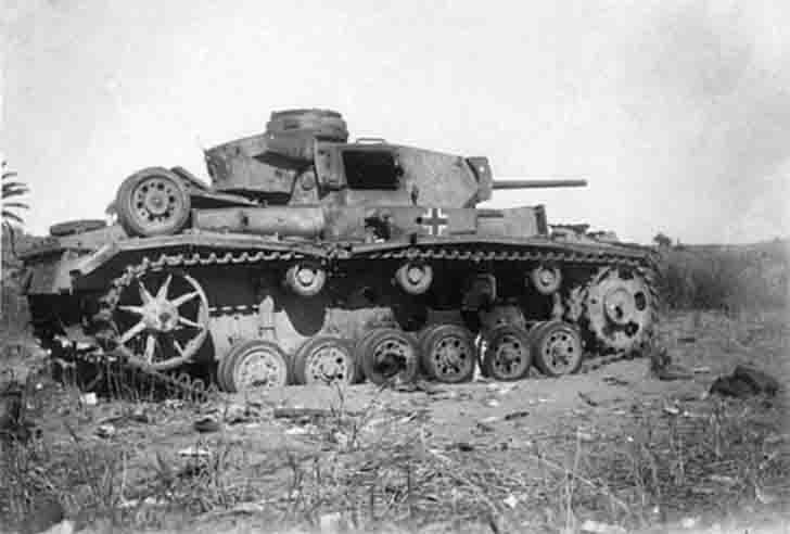 Destroyed Pz.Kpfw. III medium tank of the 11th Armored Division of the Wehrmacht