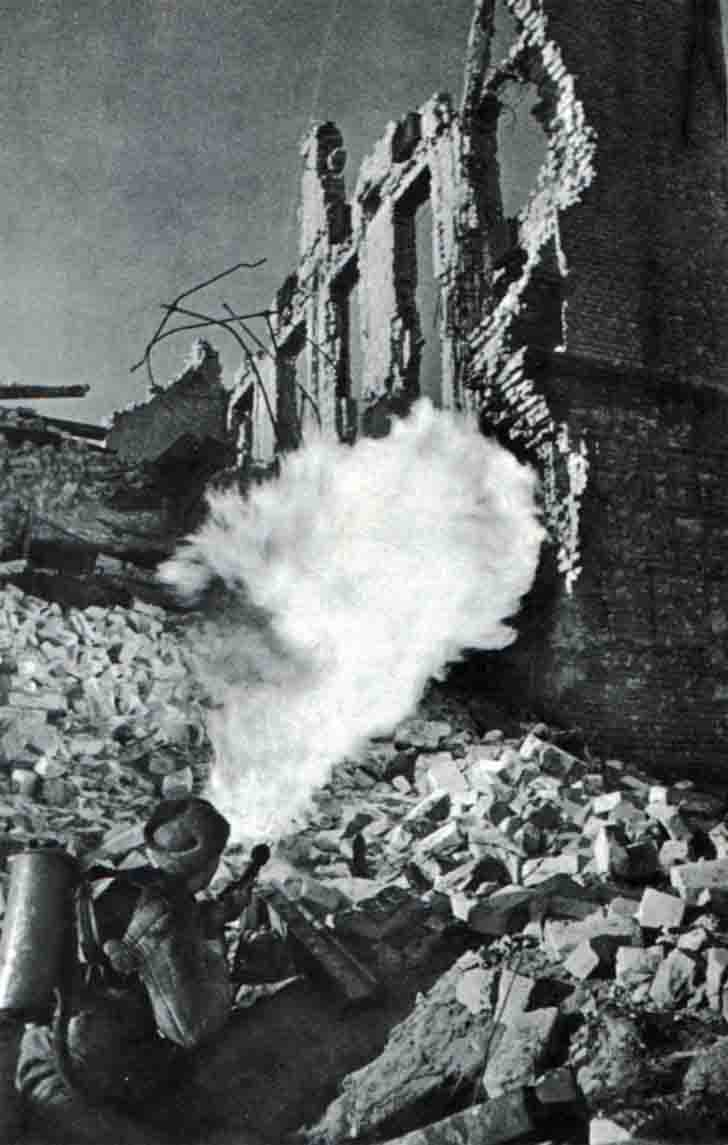 A shot of Russian flamethrower in the Battle of Stalingrad