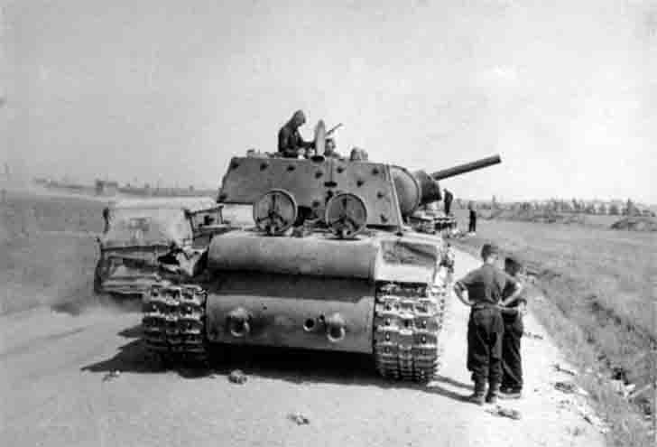 Destroyed on a country road the Soviet KV-1 heavy tank
