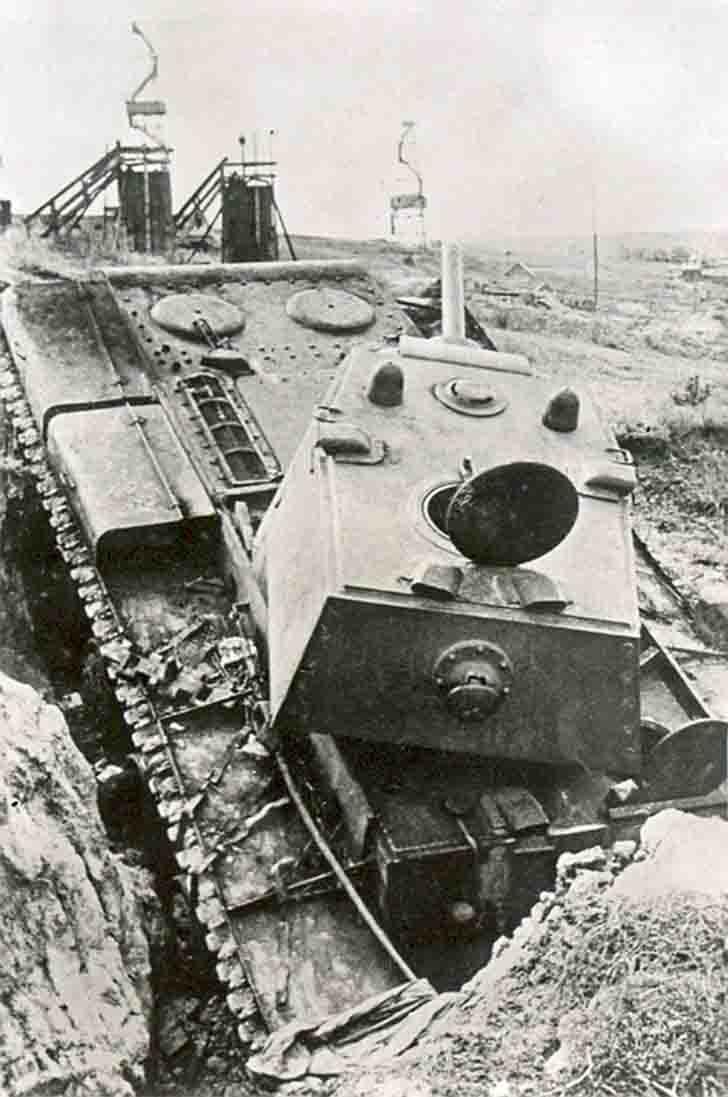 Abandoned in Romny city the Soviet KV-1 heavy tank
