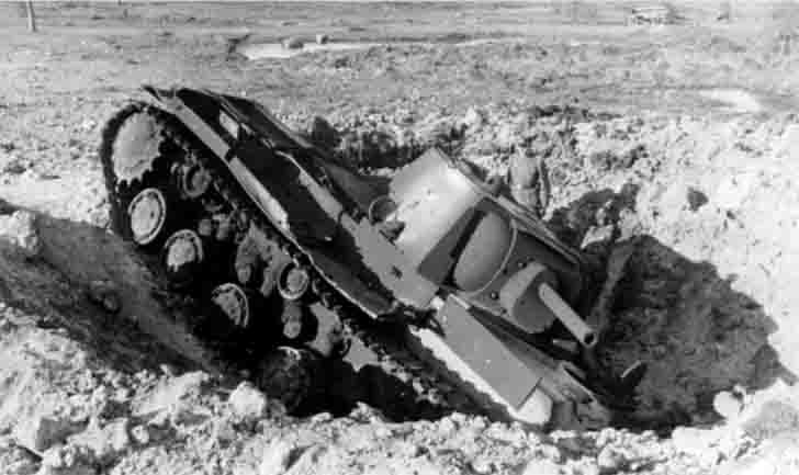 KV-1 heavy tank in the funnel from the explosion