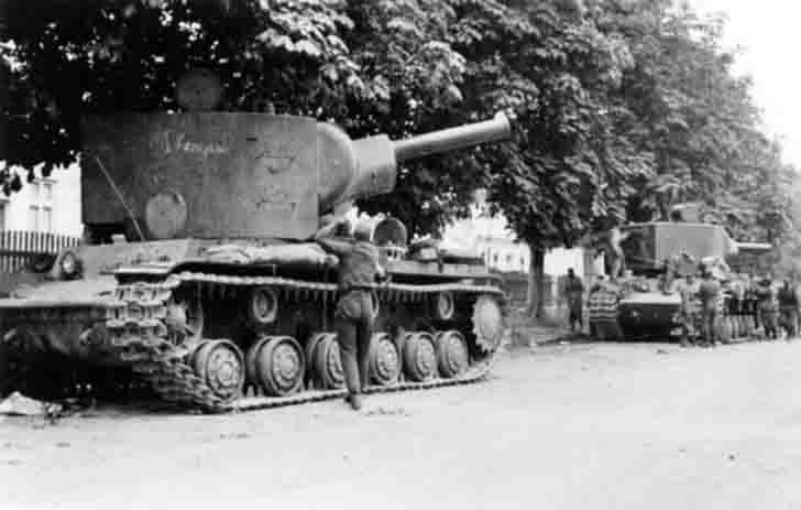 KV-2 heavy tanks of the 8th Tank Division of the Red Army