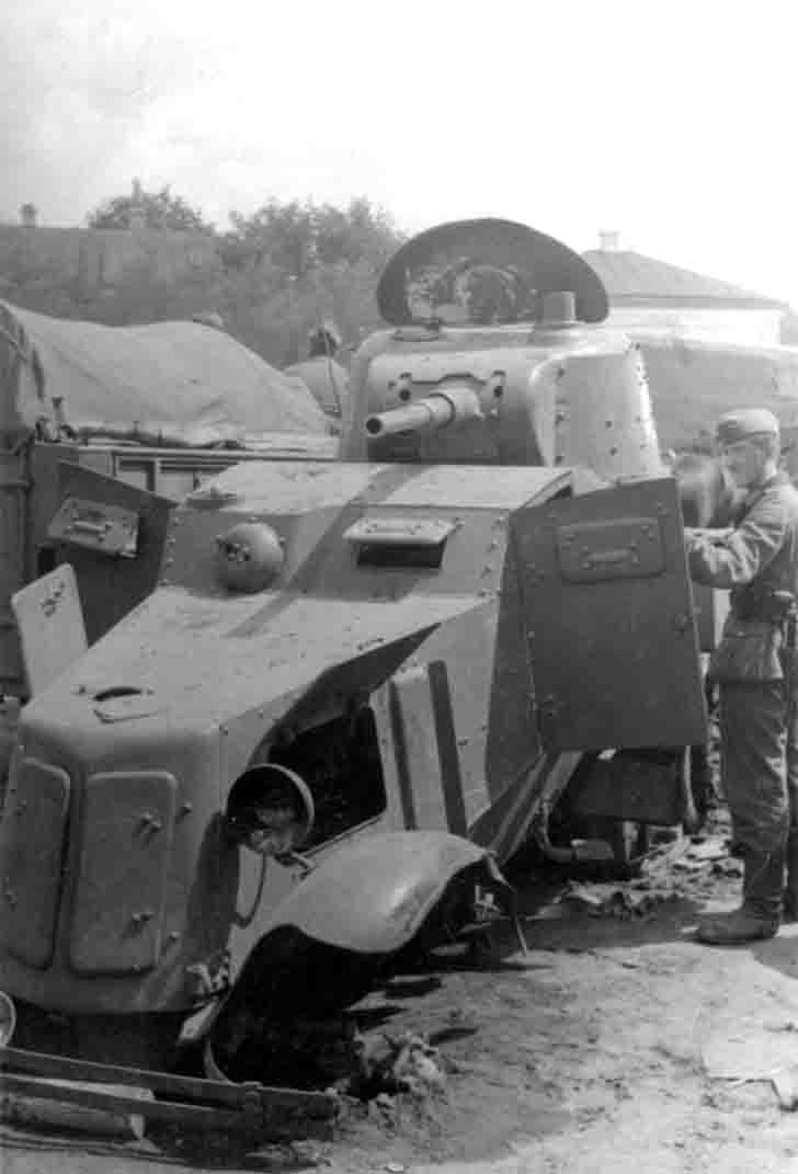 Captured BA-10 armored car