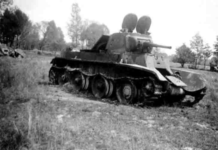 Burnt BT-7 light tank