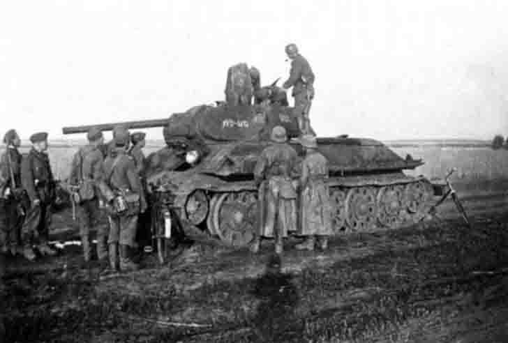 Captured T-34-76 medium tank of the 130th Armored Brigade