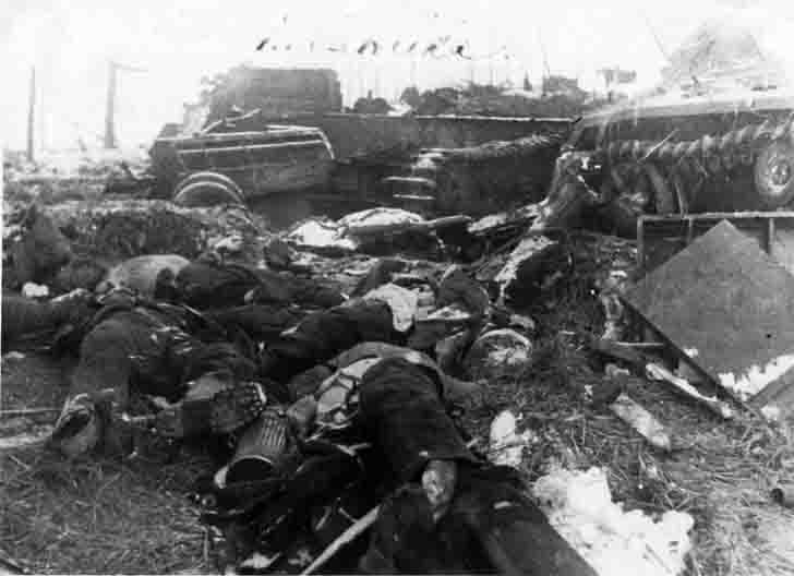 Destroyed German armored vehicles in the Battle of the village Panskoe