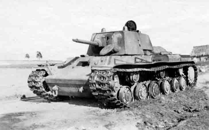Burnt KV-1 heavy tank of rare modification