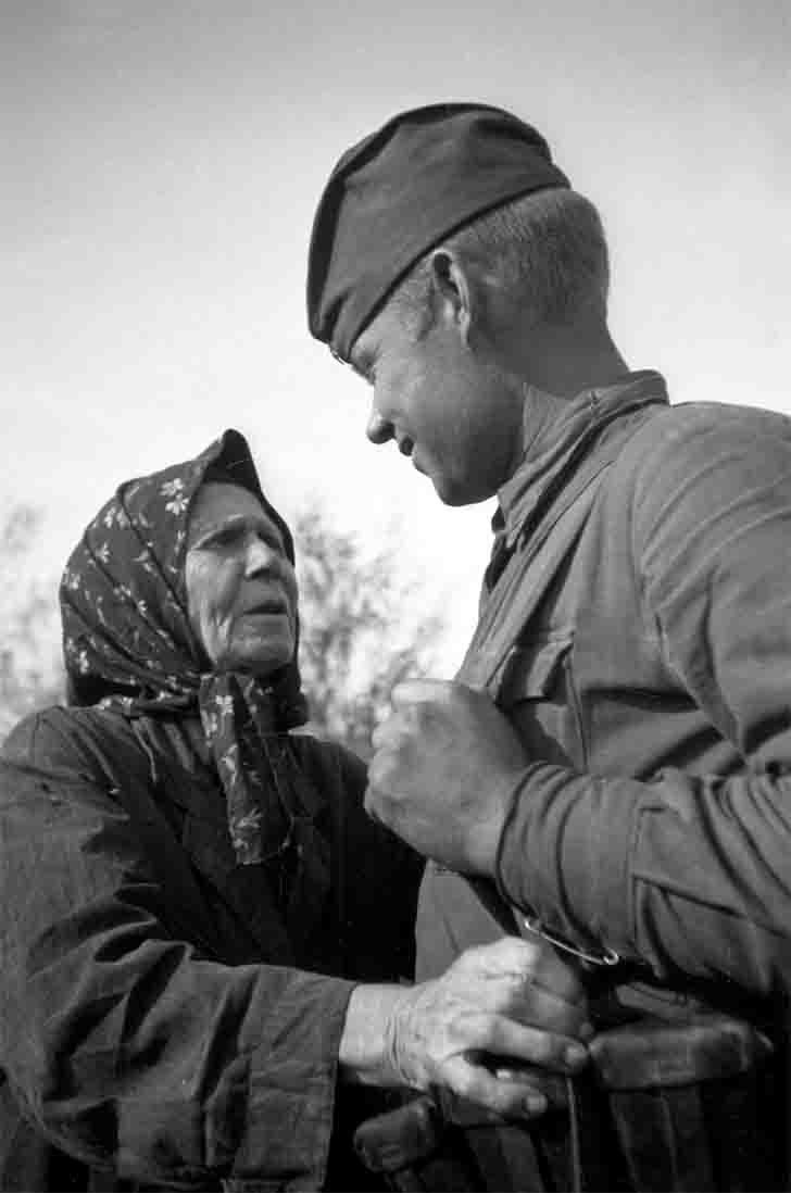 Ukrainian woman and a Russian soldier