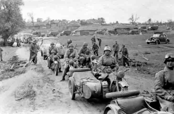 Mechanized convoy of Wehrmacht on the road in the Ukraine
