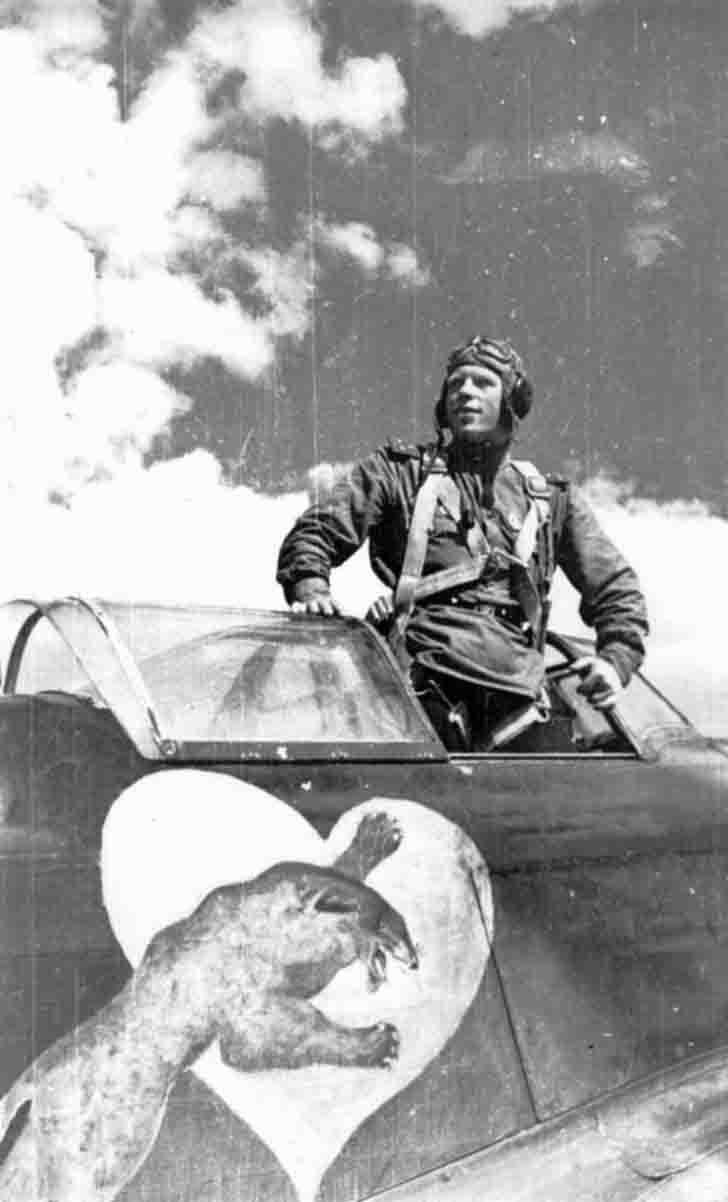 Alex Alelyuhin in the Yak-1 fighter