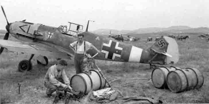 Me-109 from Jagdgeschwader 27 (JG-27) at the airfield
