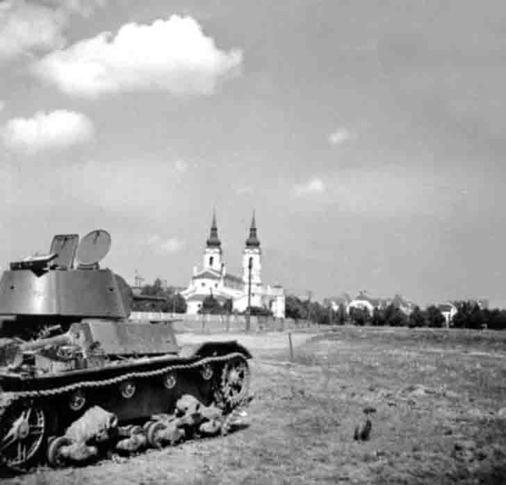 Destroyed T-26 light tank