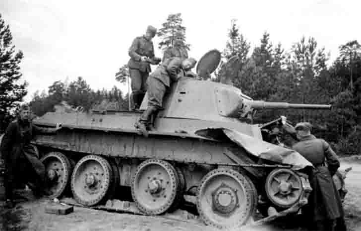 Destroyed Soviet BT-7 light tank