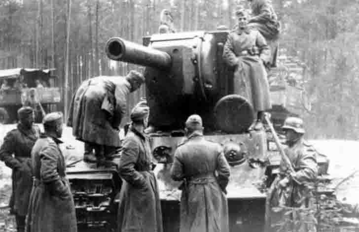Abandoned Soviet KV-2 heavy tank