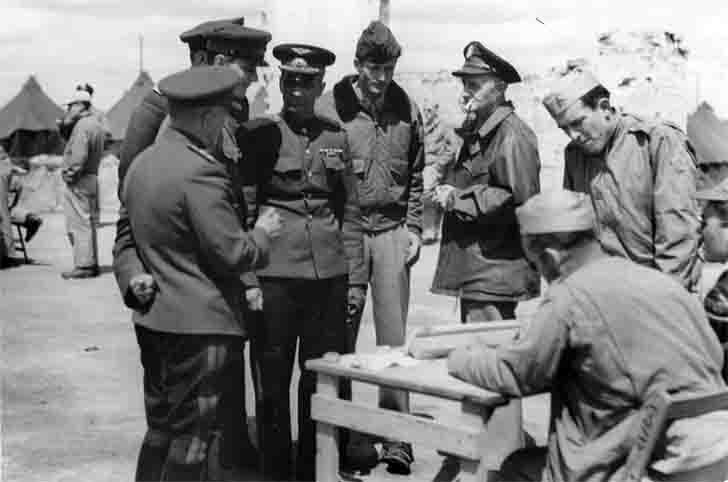 Soviet and US officers at the airport in Poltava, Ukraine