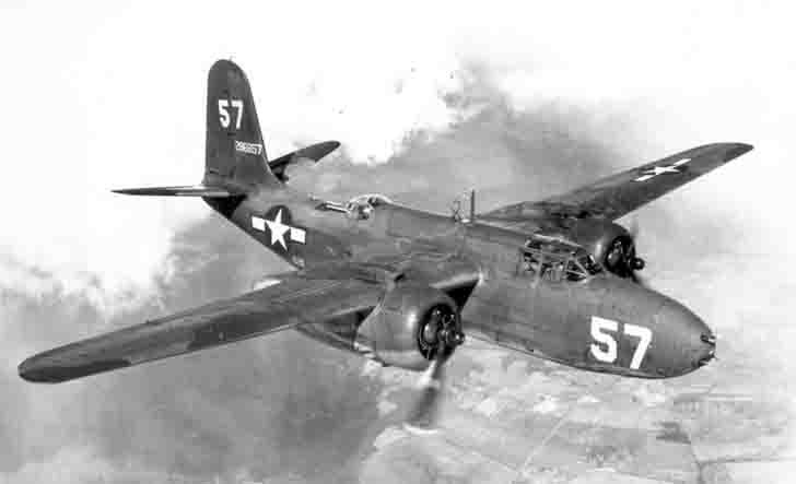 "American Douglas A-20 ""Boston"" bomber in flight"