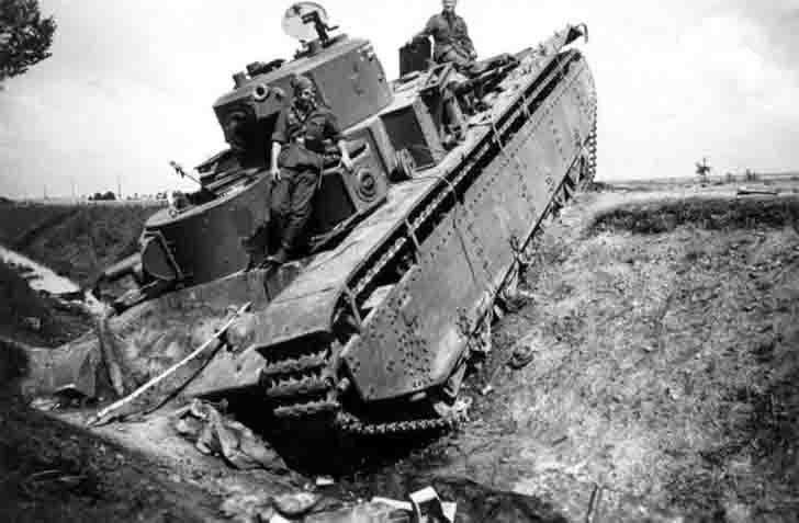 Abandoned T-35 multi-turret tank in a ditch