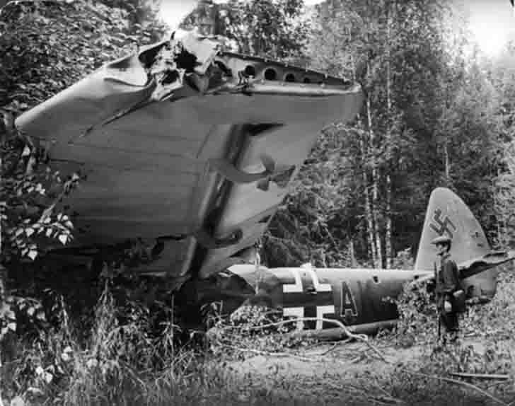 A downed German Junkers Ju-88 reconnaissance aircraft under Istra