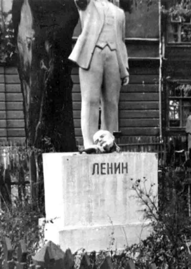 Monument to Lenin in a captured Russian village