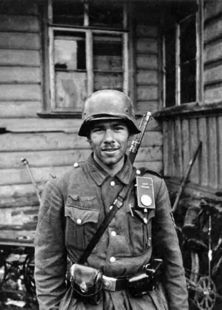 German soldier in Russian village