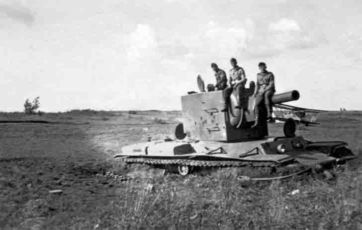 Soviet KV-2 heavy tank, it mired in the mud