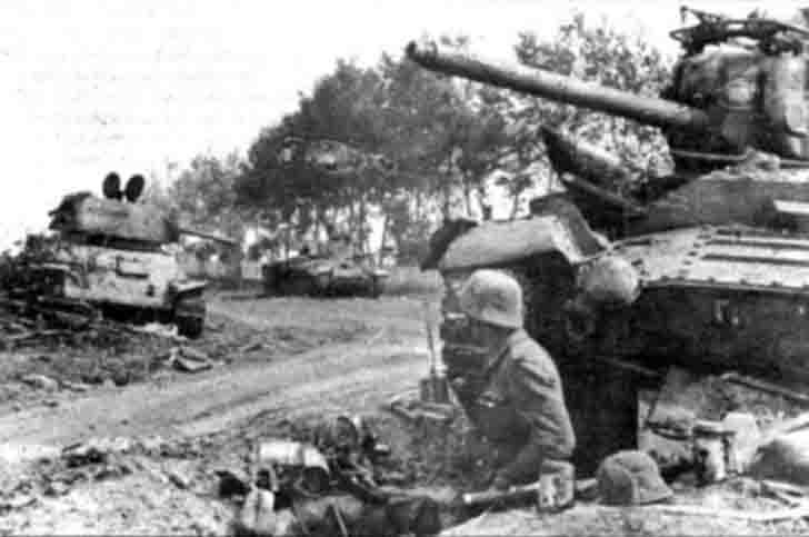 Destroyed Soviet tanks in the Battle of Rzhev
