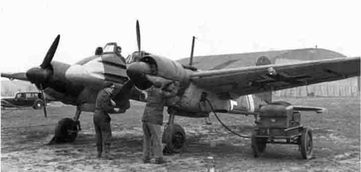 Checking the engine of Henschel Hs 129 attack aircraft
