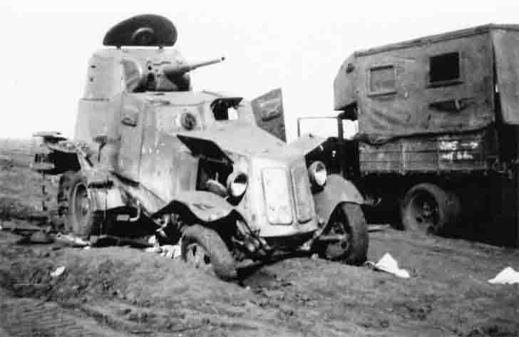 Abandoned due to breakage of the BA-10 armored car