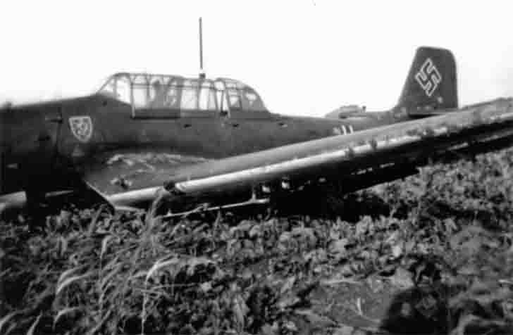 Junkers Ju-87 after emergency landing