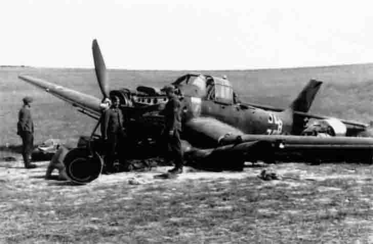 Downed Junkers Ju-87 bomber