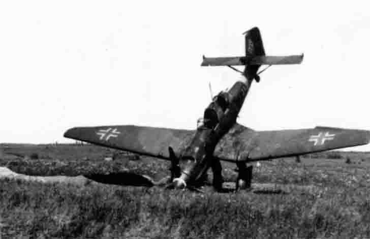 Junkers Ju-87 dive bomber after emergency landing