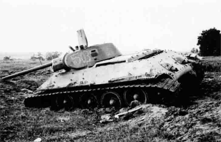 Abandoned Soviet T-34-76 medium tank №503