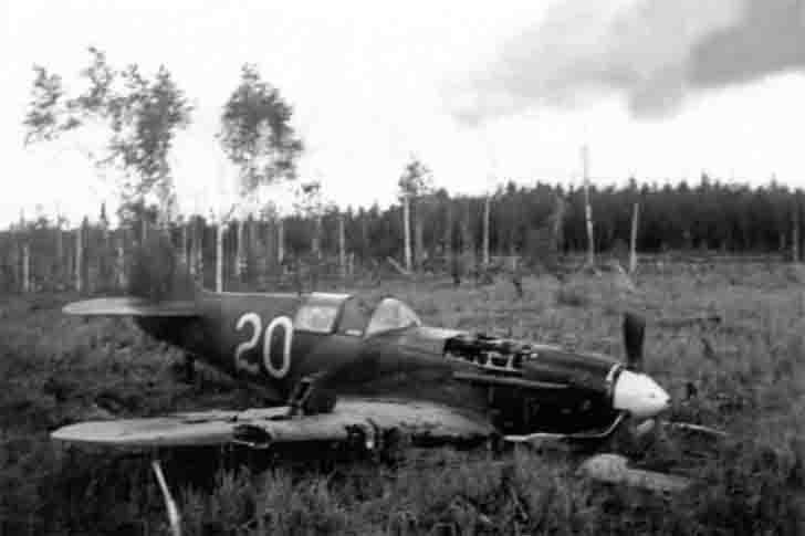 Damaged Soviet LaGG-3 fighter