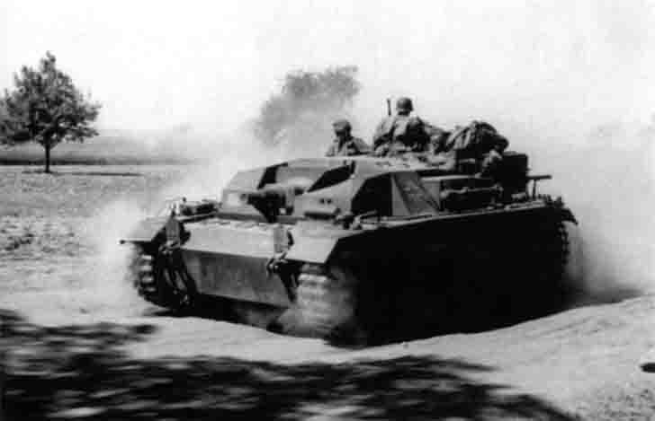 German StuG III Ausf.B SPG on the dusty road