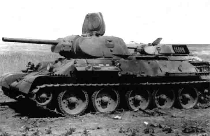 Two abandoned the Soviet T-34-76 medium tanks