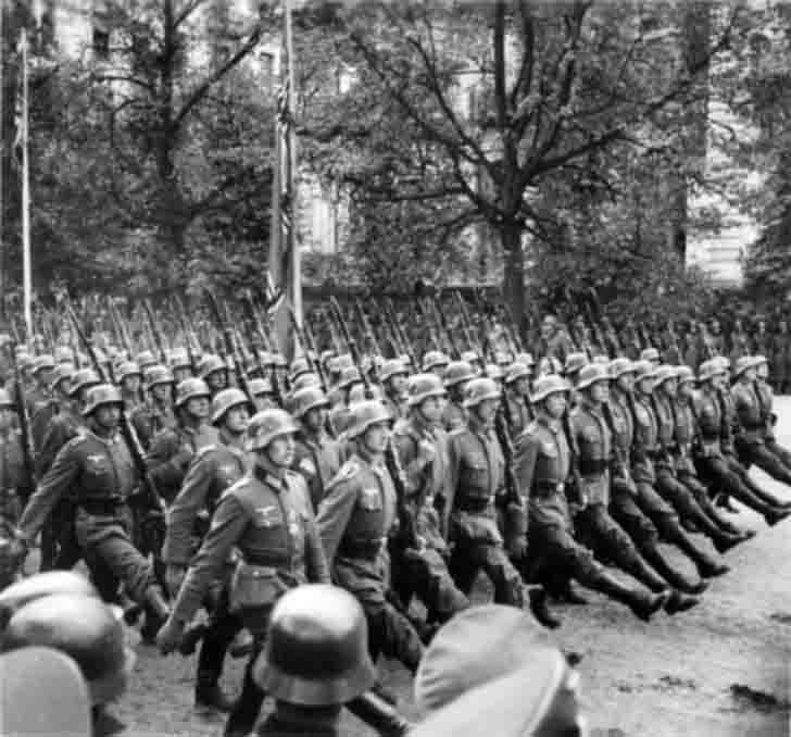 Parade of German troops in Warsaw, Poland