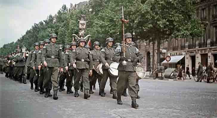Parade of the 30th Infantry Division of the Wehrmacht on the Champs Elysees in Paris
