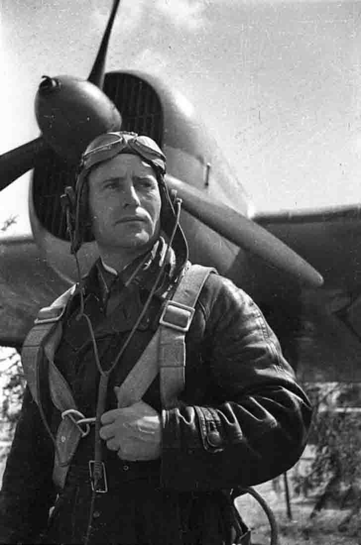 Pilot Major Ivan Polbin near his SB-2M-100A bomber