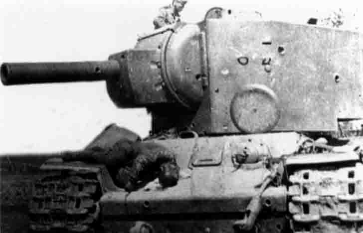 destroyed KV-2 heavy tank №B-4754 in the Battle of Ostrov city
