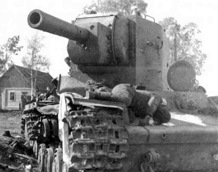 destroyed KV-2 heavy tank №B-4754 from the 6th Tank Regiment