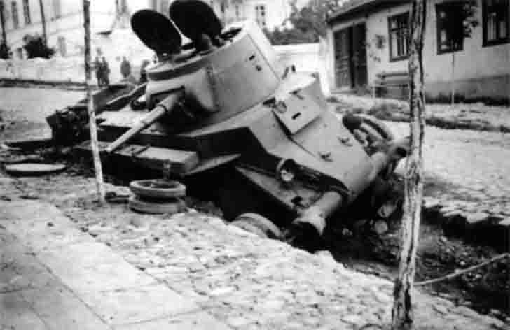 Destroyed Mickey Mouse - Soviet BT-7 light tank