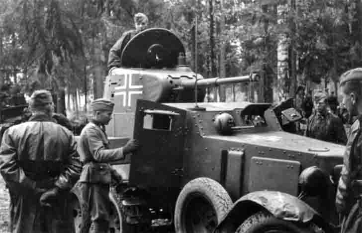 Captured Soviet armored car BA-10 serving in the Waffen SS