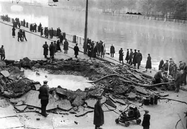 Funnel of bombs on the Fontanka embankment in Leningrad